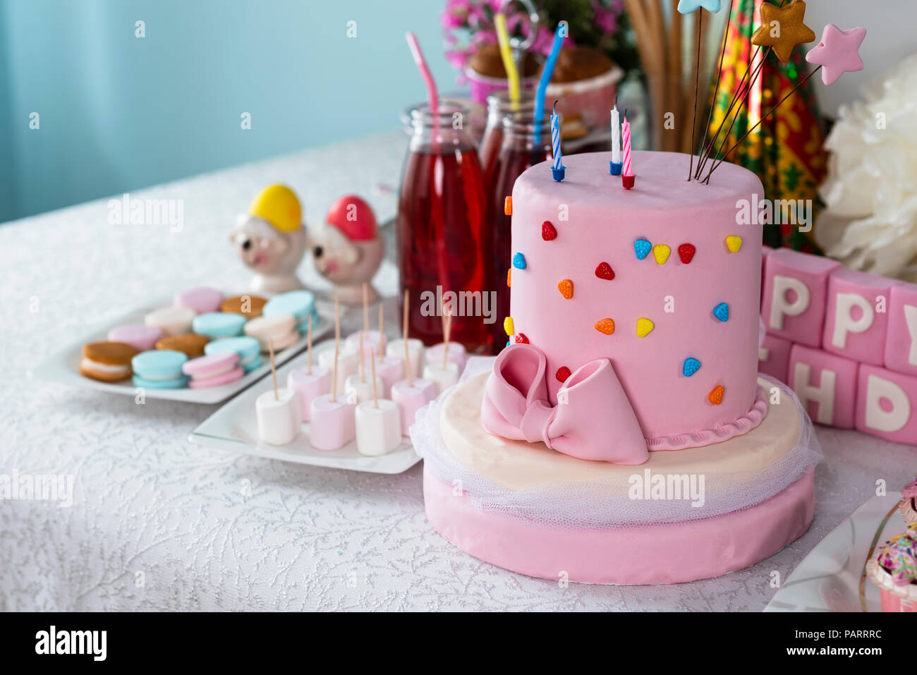 Birthday Cake Foods And Table Decorations