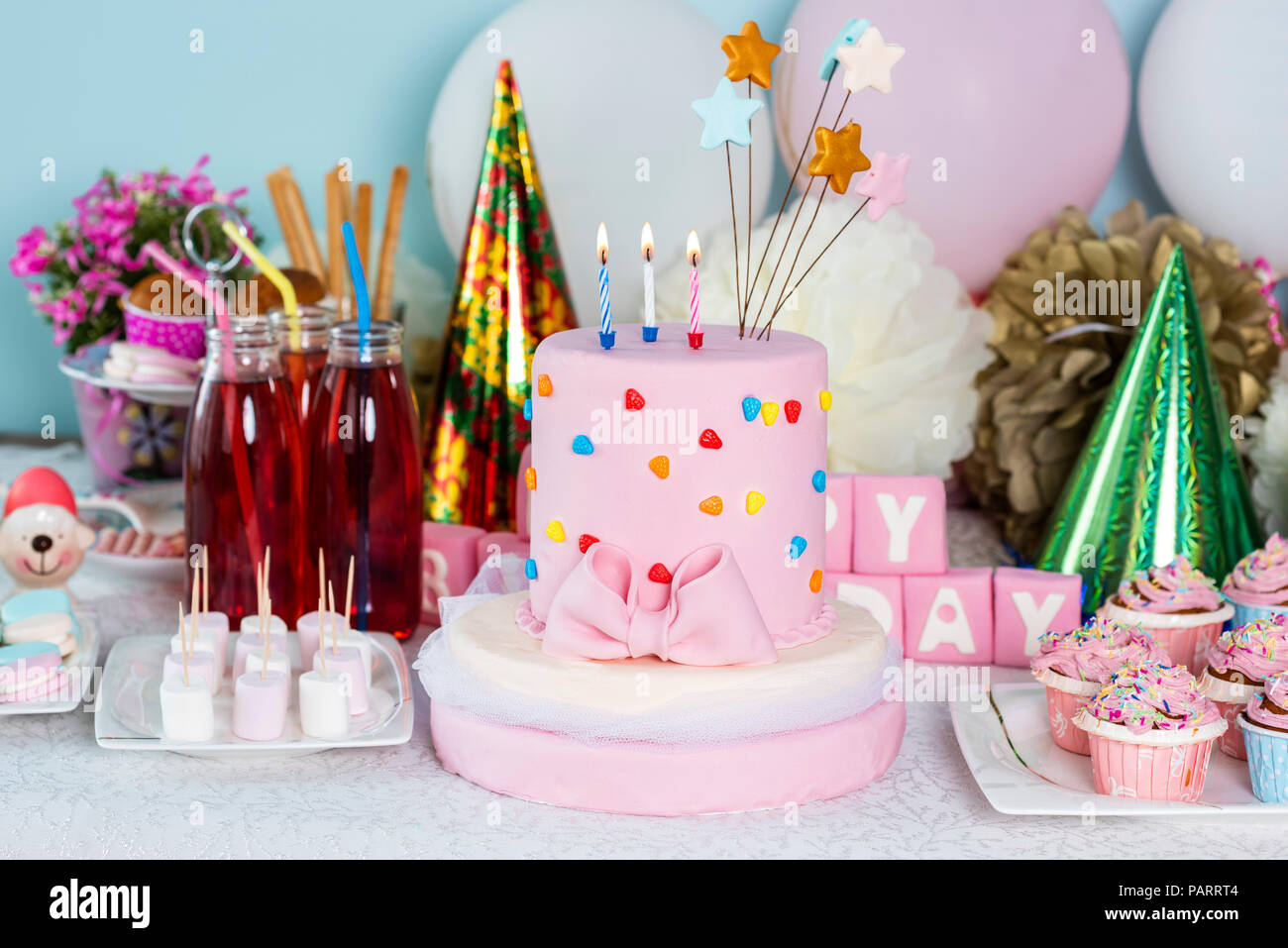 Birthday Cake Birthday Foods And Table Decorations Stock