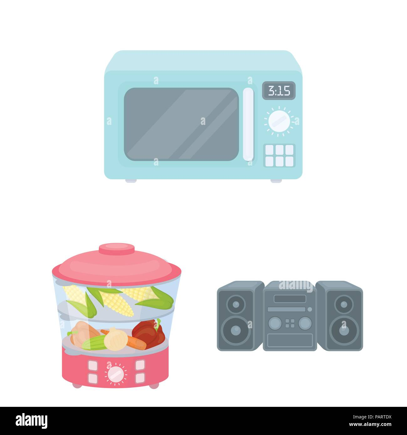 Types of household appliances cartoon icons in set collection for ...