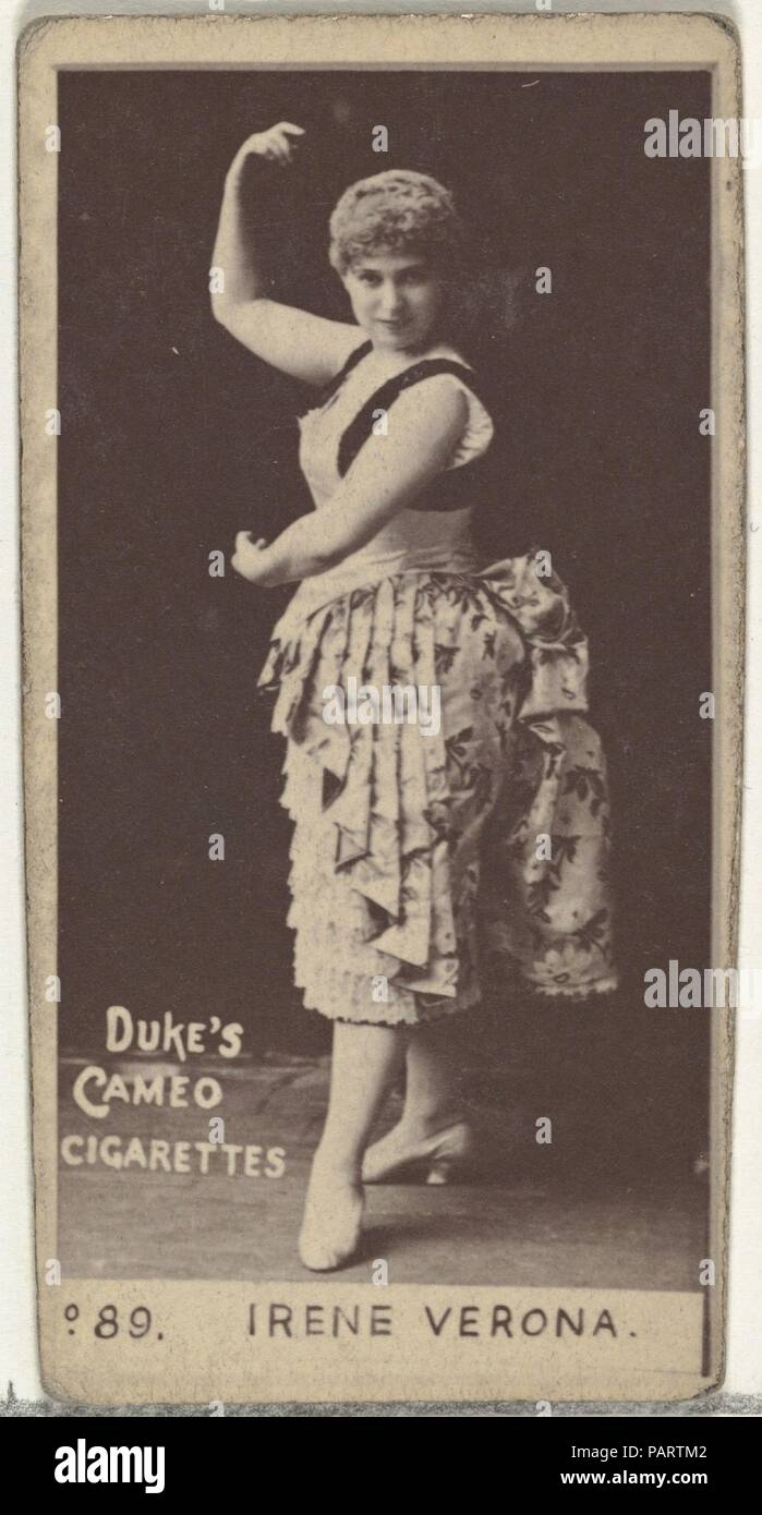 """Card Number 89, Irene Verona, from the Actors and Actresses series (N145-4) issued by Duke Sons & Co. to promote Cameo Cigarettes. Dimensions: Sheet: 2 11/16 × 1 3/8 in. (6.8 × 3.5 cm). Publisher: Issued by W. Duke, Sons & Co. (New York and Durham, N.C.). Date: 1880s.  Trade cards from the set """"Actors and Actresses"""" (N145-4), issued in the 1880s by W. Duke Sons & Co. to promote Cameo Cigarettes. There are eight subsets of the N145 series. Various subsets sport different card designs and also promote different tobacco brands represented by W. Duke Sons & Company. This card is from the fourth su Stock Photo"""