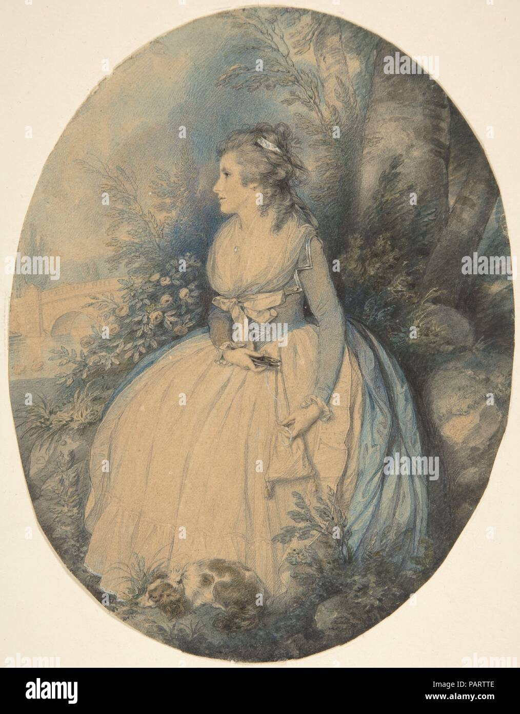 Mrs. Robinson as Perdita. Artist: Richard Cosway (British, Oakford, Devon 1742-1821 London). Dimensions: oval sheet: 7 13/16 x 6 in. (19.9 x 15.3 cm). Sitter: Mary 'Perdita' Robinson (British, 1758-1800). Subject: William Shakespeare (British, Stratford-upon-Avon 1564-1616 Stratford-upon-Avon). Date: ca. 1779.  This lovely young woman seated in a park, fingering a spindle wound with thread and accompanied by her dog, is Mary Robinson. When she performed the role of Perdita in an adaption of Shakespeare's 'Winter's Tale,' staged by David Garrick in 1779, George, Prince of Wales fell in love wit - Stock Image