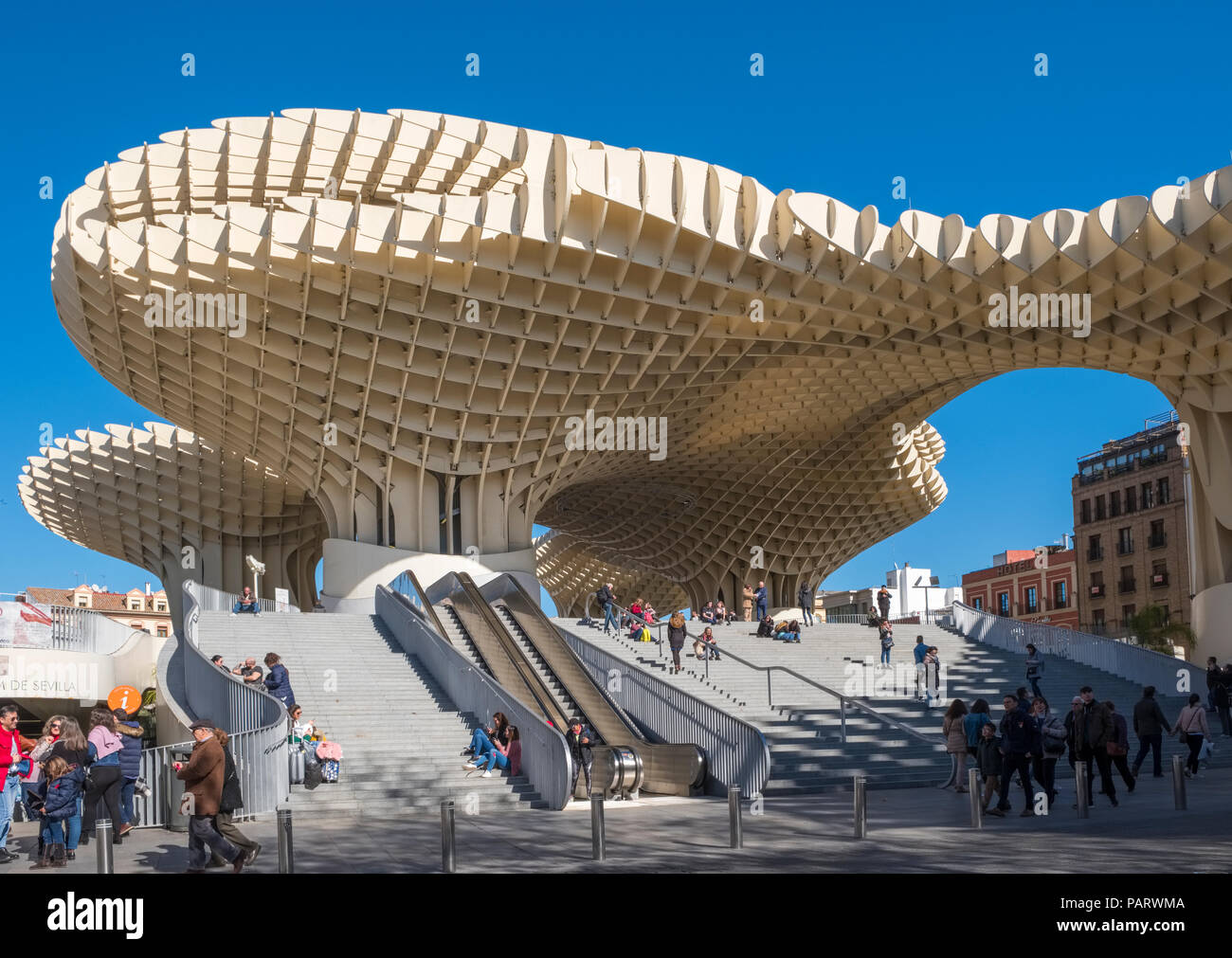 Metropol Parasol, Espacio Metropol Parasol, Incarnation Square, Plaza de la Encarnation, Seville, Spain, Europe - modern architecture - Stock Image