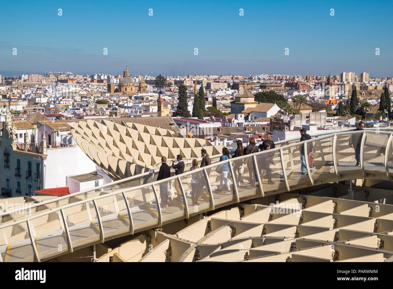 Metropol Parasol, Espacio Metropol Parasol, Incarnation Square, Plaza de la Encarnation with views over Seville, Spain, Europe - Stock Image