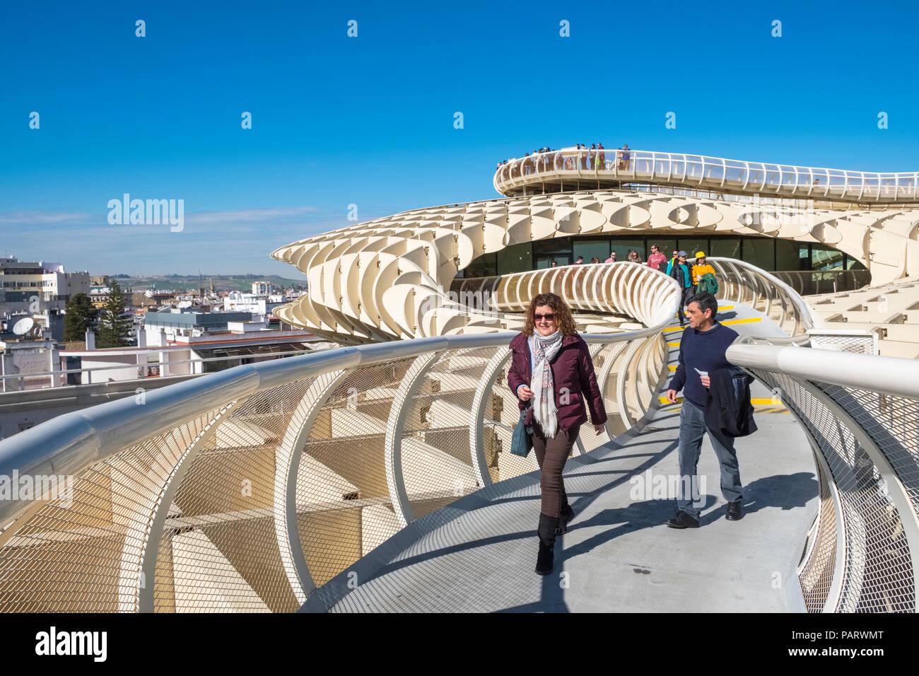 Metropol Parasol, Espacio Metropol Parasol, Incarnation Square, Plaza de la Encarnation, Seville, Spain, Europe - people walking - Stock Image