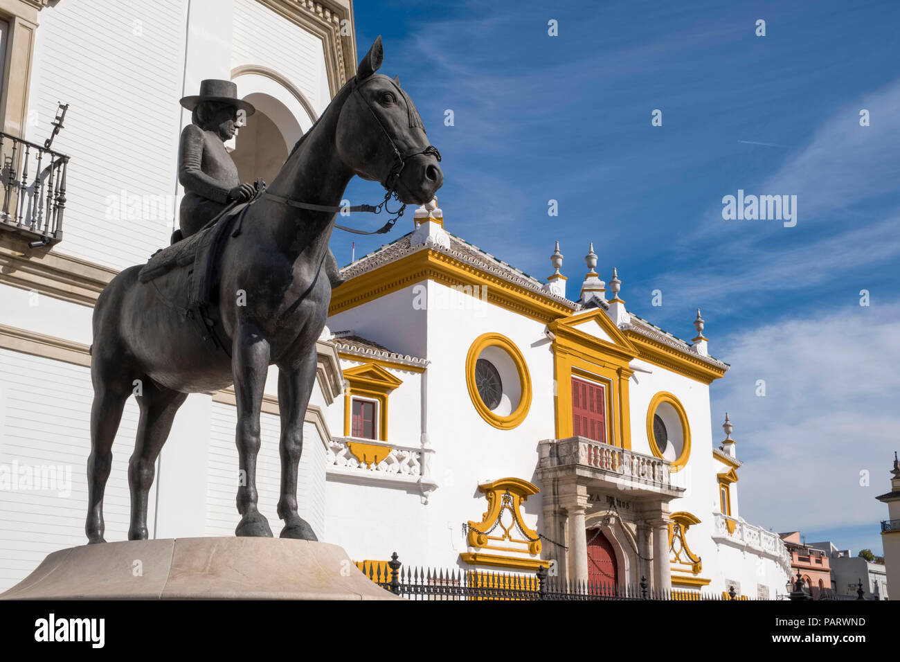 Maestranza, the Plaza de Toros de la Real Maestranza de Caballeria de Sevilla, Seville, Spain, Europe - bullring Stock Photo