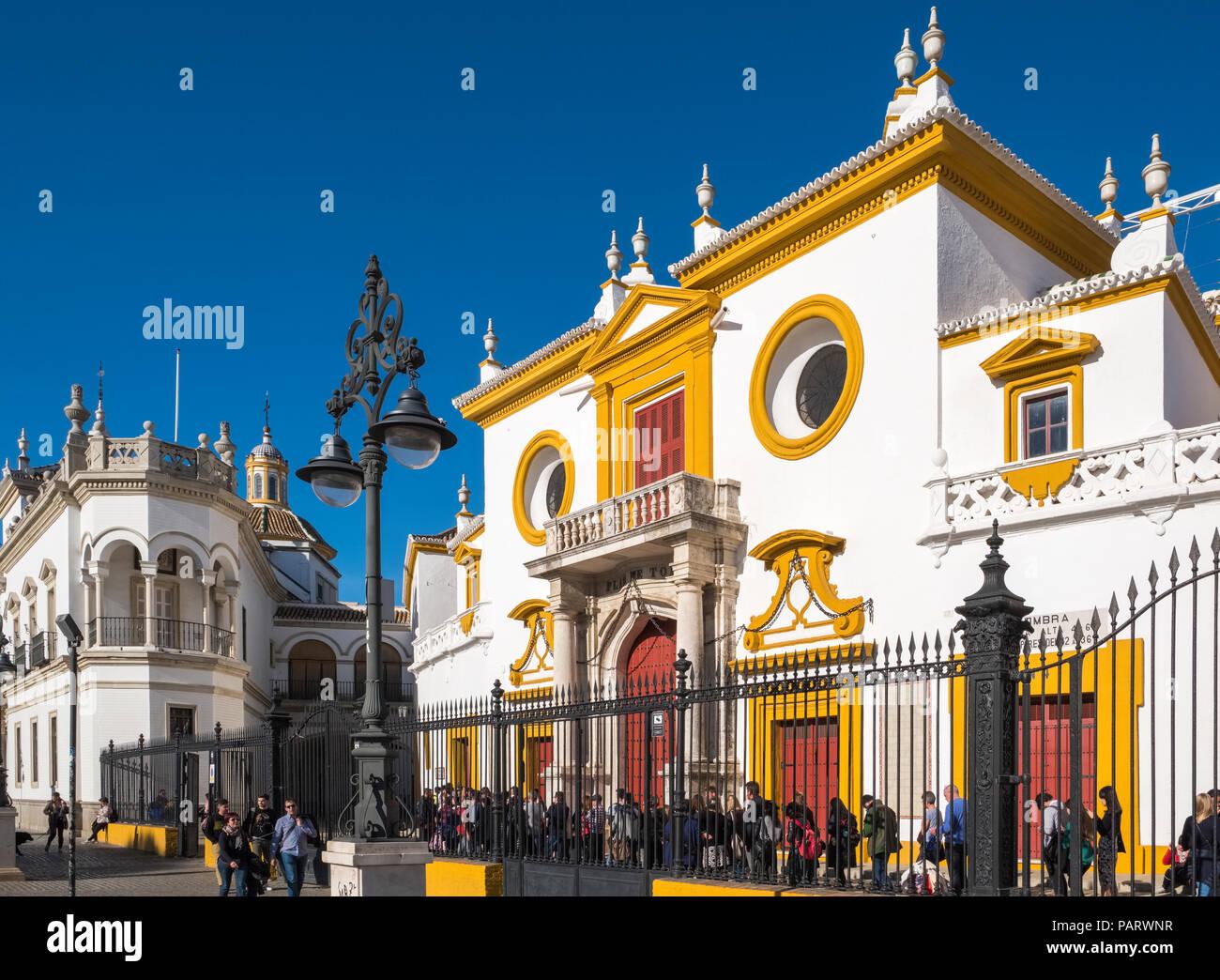 Maestranza, the Plaza de Toros de la Real Maestranza de Caballeria de Sevilla, Seville, Spain, Europe - bullring - Stock Image