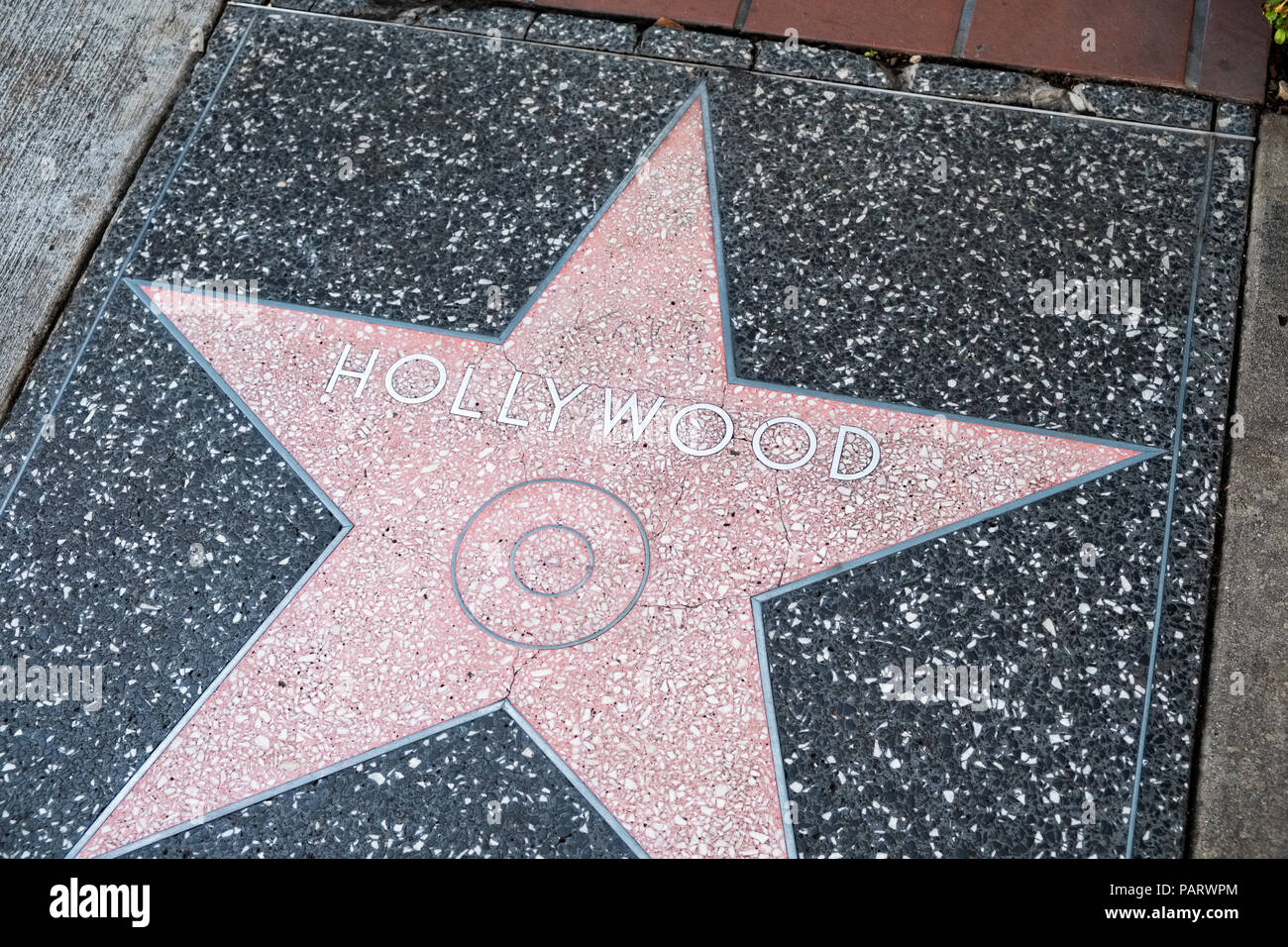 Hollywood star on the Walk of Fame, Hollywood Boulevard, Los Angeles, LA, California, USA - Stock Image