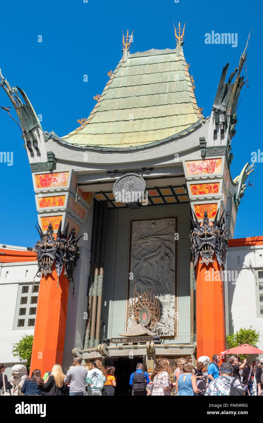 Grauman's Chinese Theatre on the historic Hollywood Walk of Fame at 6925 Hollywood Boulevard, Los Angeles, LA, California, USA - Stock Image
