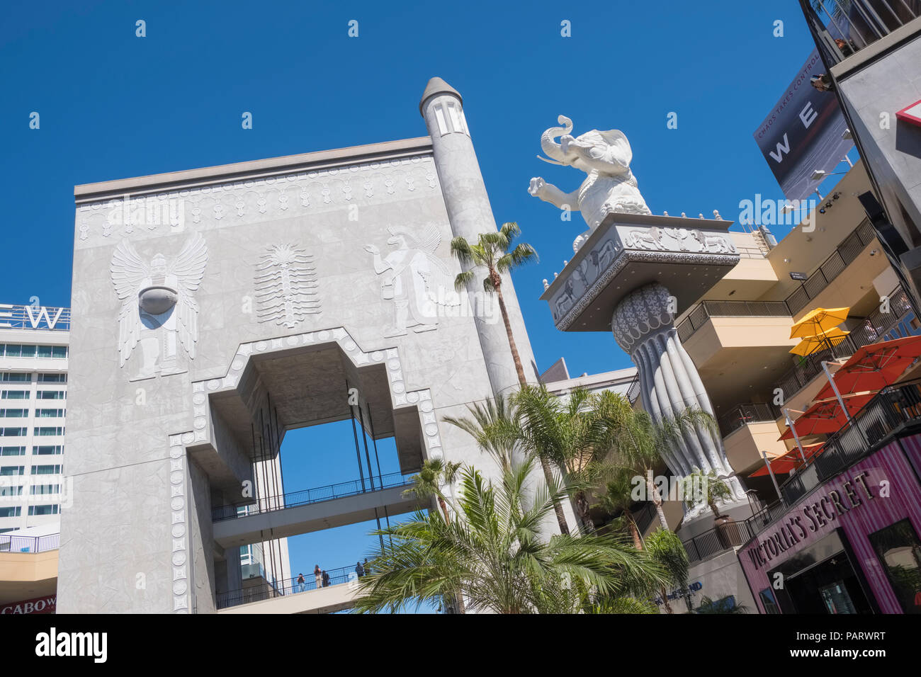 Egyptian themed buildings and architecture at the Hollywood & Highland retail centre, Hollywood Boulevard, Los Angeles, LA, California, USA - Stock Image