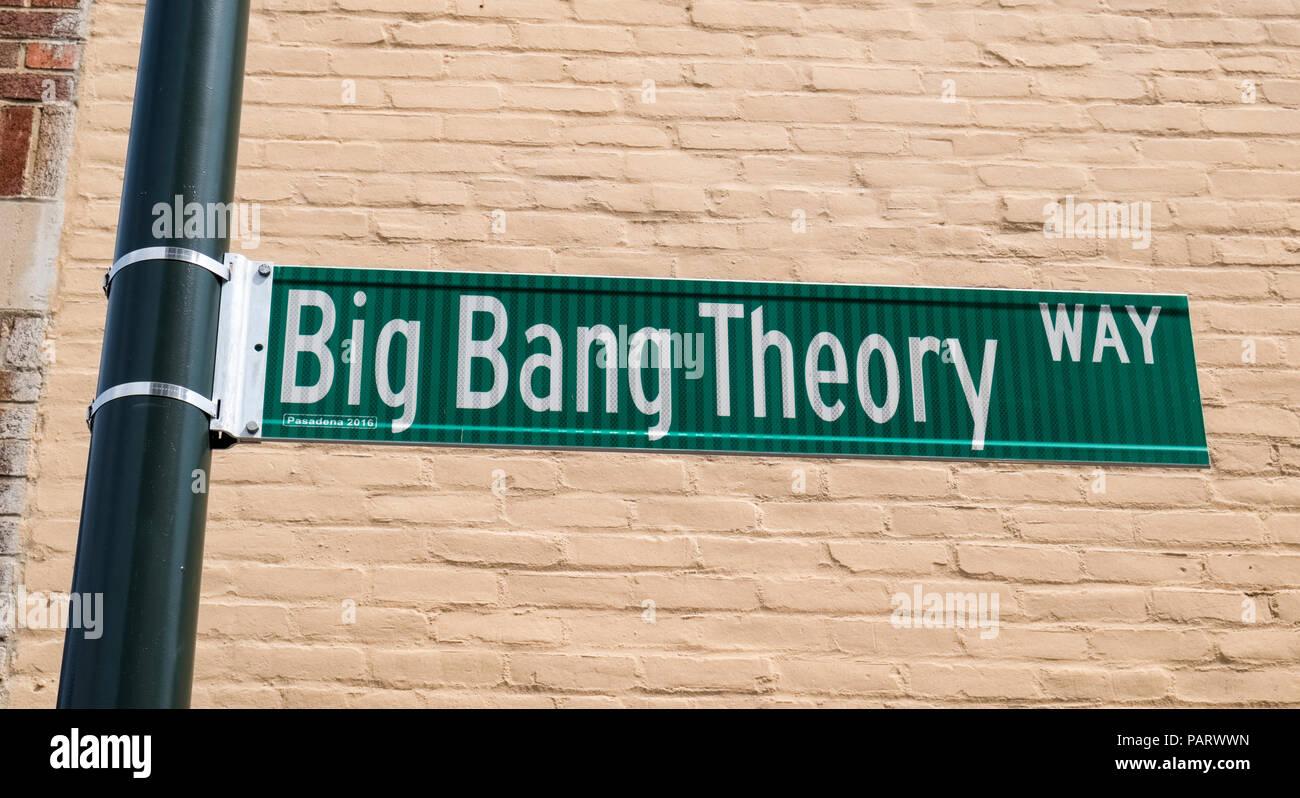 Big Bang Theory Way road sign in Pasadena, California, USA - Stock Image