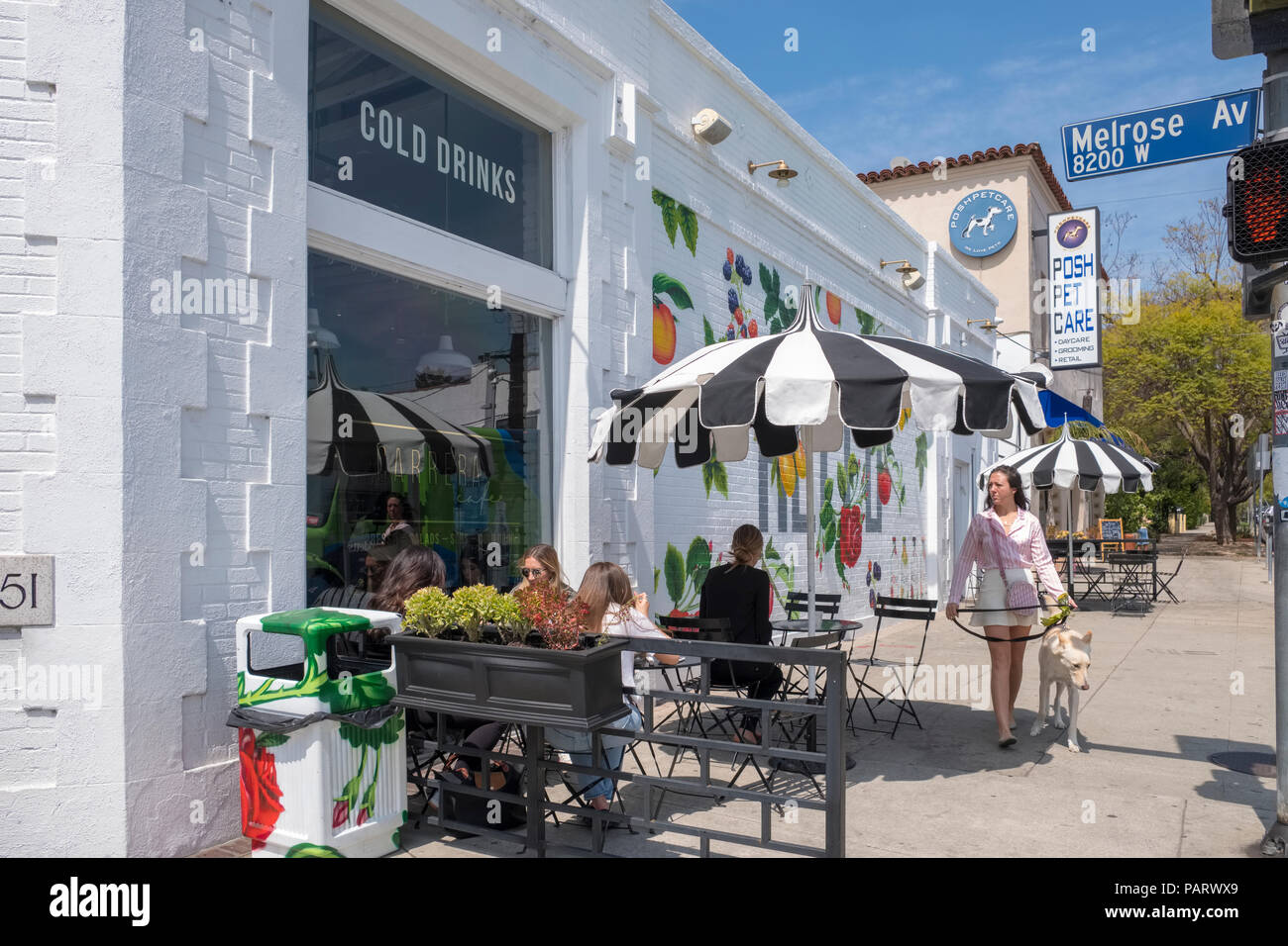 Sidewalk cafe with outdoor seating on fashionable Melrose Avenue, West Hollywood, Los Angeles, LA, California, USA - Stock Image