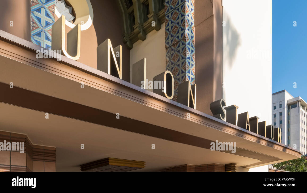 Union Station Los Angeles logo sign, LAUS, LA, California, USA - Stock Image