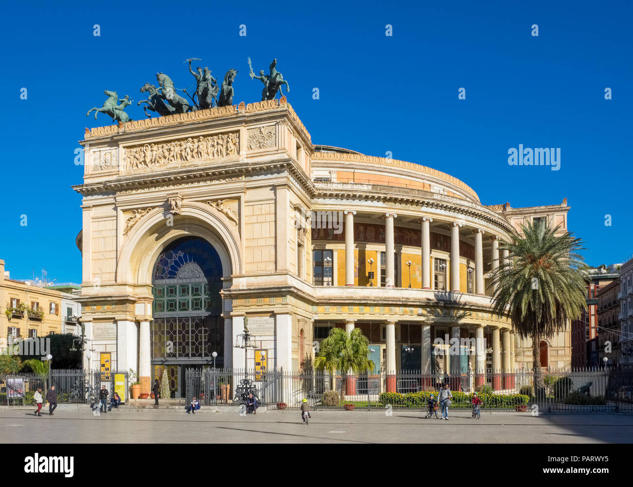 The Politeama Theatre, Teatro Politeama facade, Palermo, Sicily in Piazza Politeama with a bronze Quadriga - Stock Image