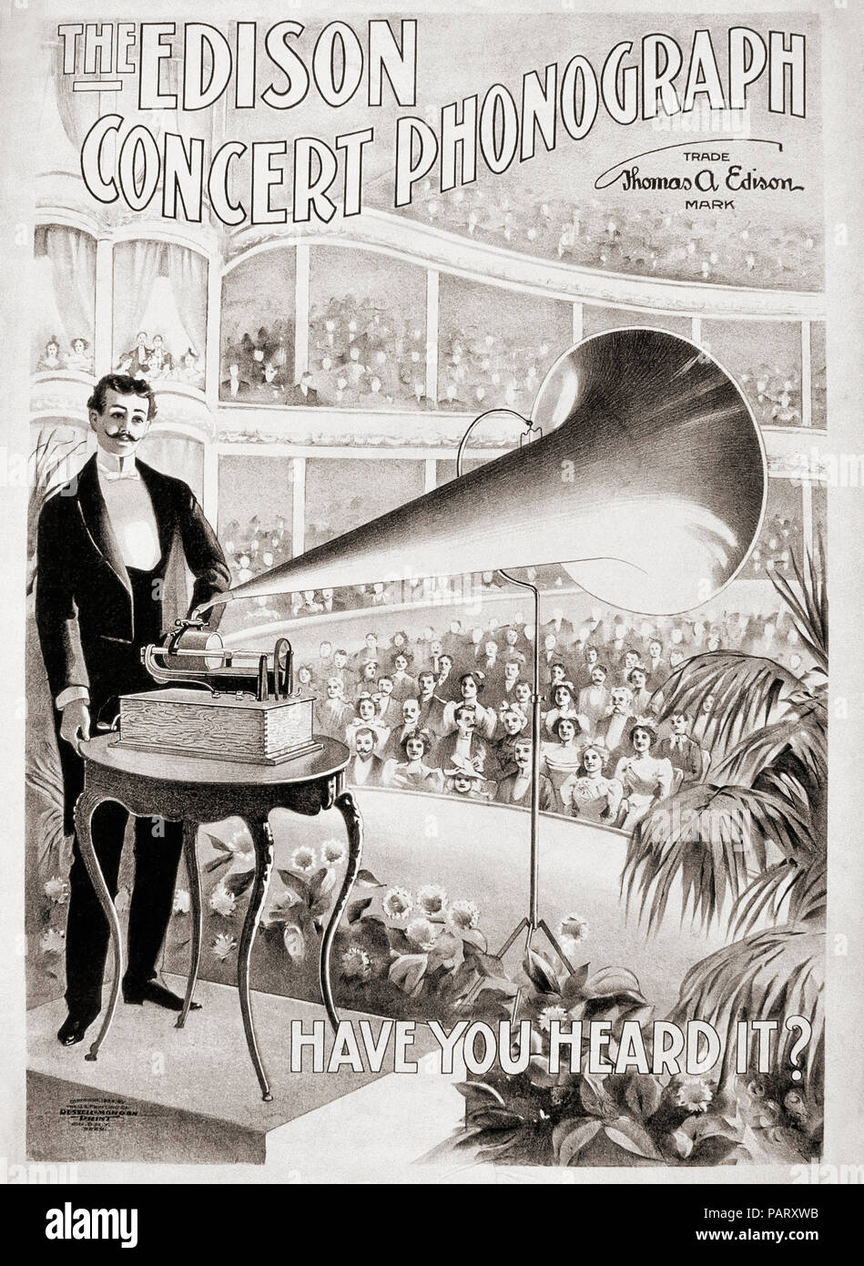 Advertisement for The Edison Concert Phonograph from 1899. - Stock Image