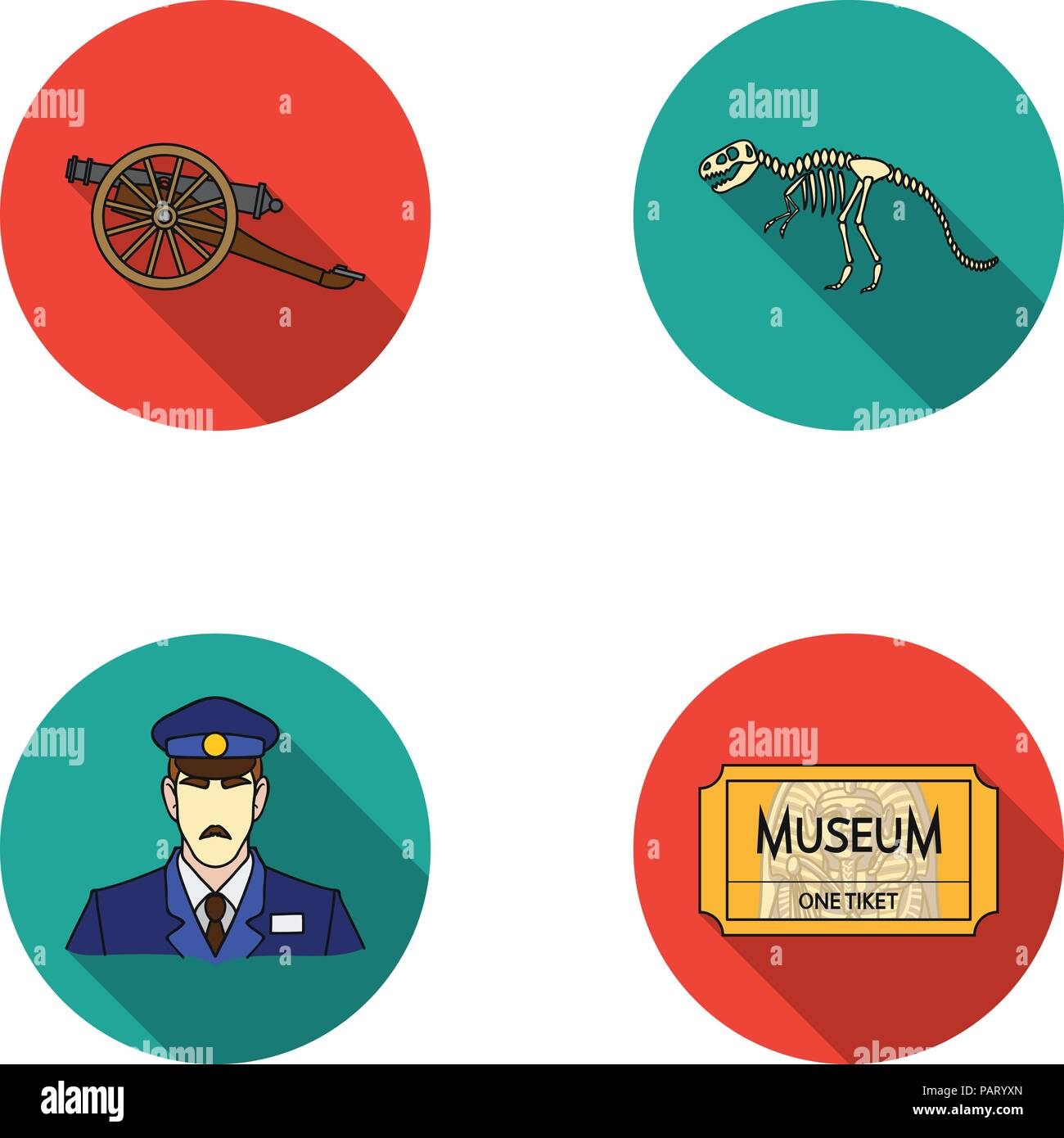 Gun on wheels, dinosaur skeleton, security guard in uniform, admission ticket. Museum set collection icons in flat style vector symbol stock illustrat - Stock Image