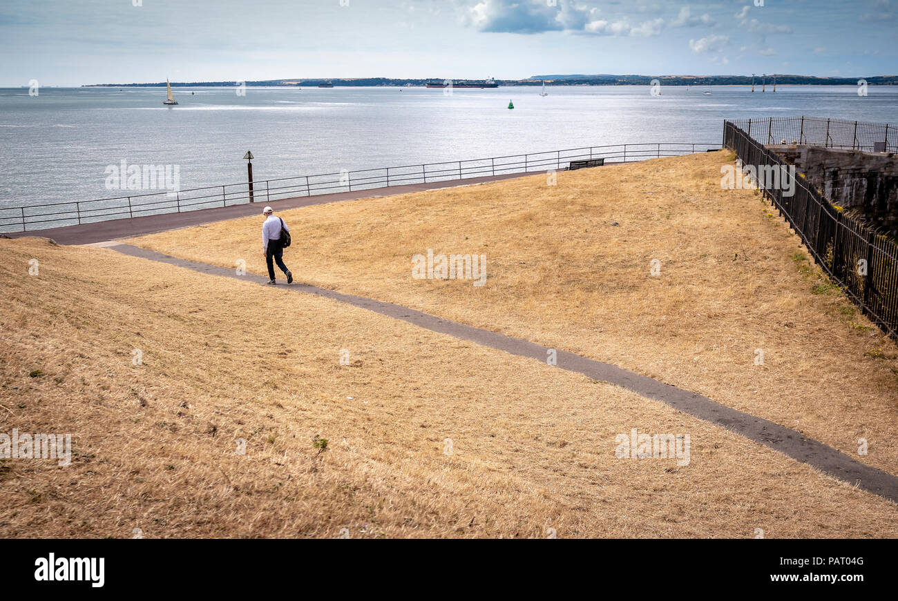 Dry brown grass field on Southsea Common public park due to the extreme hot weather this year Stock Photo