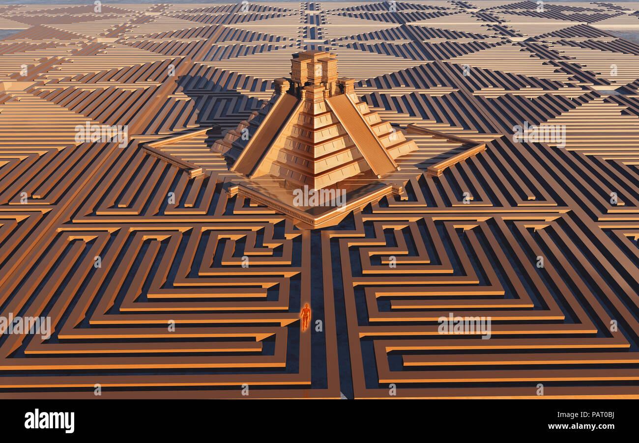 Mayan Maze - Stock Image