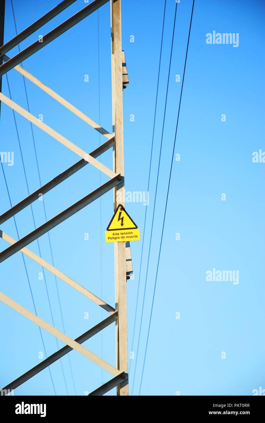 Electricity pylon. Close view. Stock Photo