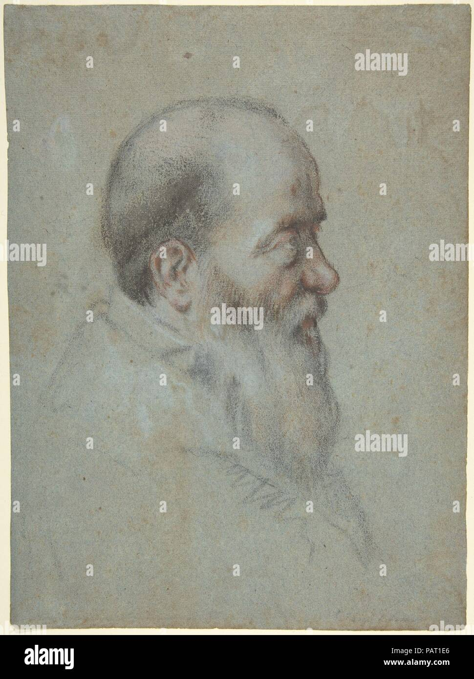 Bust of a Bearded Old Man, Profile to Right. Artist: Carletto Caliari (Italian, Venice 1567/70-1592/96 Venice). Dimensions: 10 9/16 x 7 13/16in. (26.8 x 19.8cm). Date: 1567-96. Museum: Metropolitan Museum of Art, New York, USA. - Stock Image