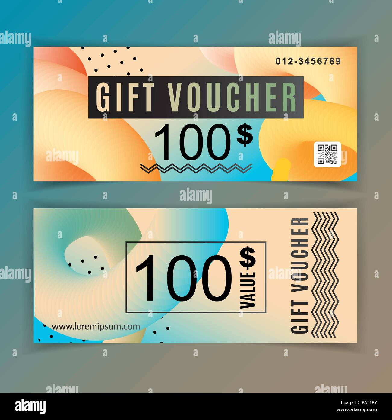 Vector gift voucher template universal flyer orange blue design vector gift voucher template universal flyer orange blue design elements gift voucher value 100 dollars for department stores business cheaphphosting Gallery