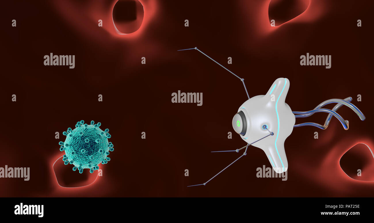 The nanorobot catches and destroys the virus. 3D render. - Stock Image