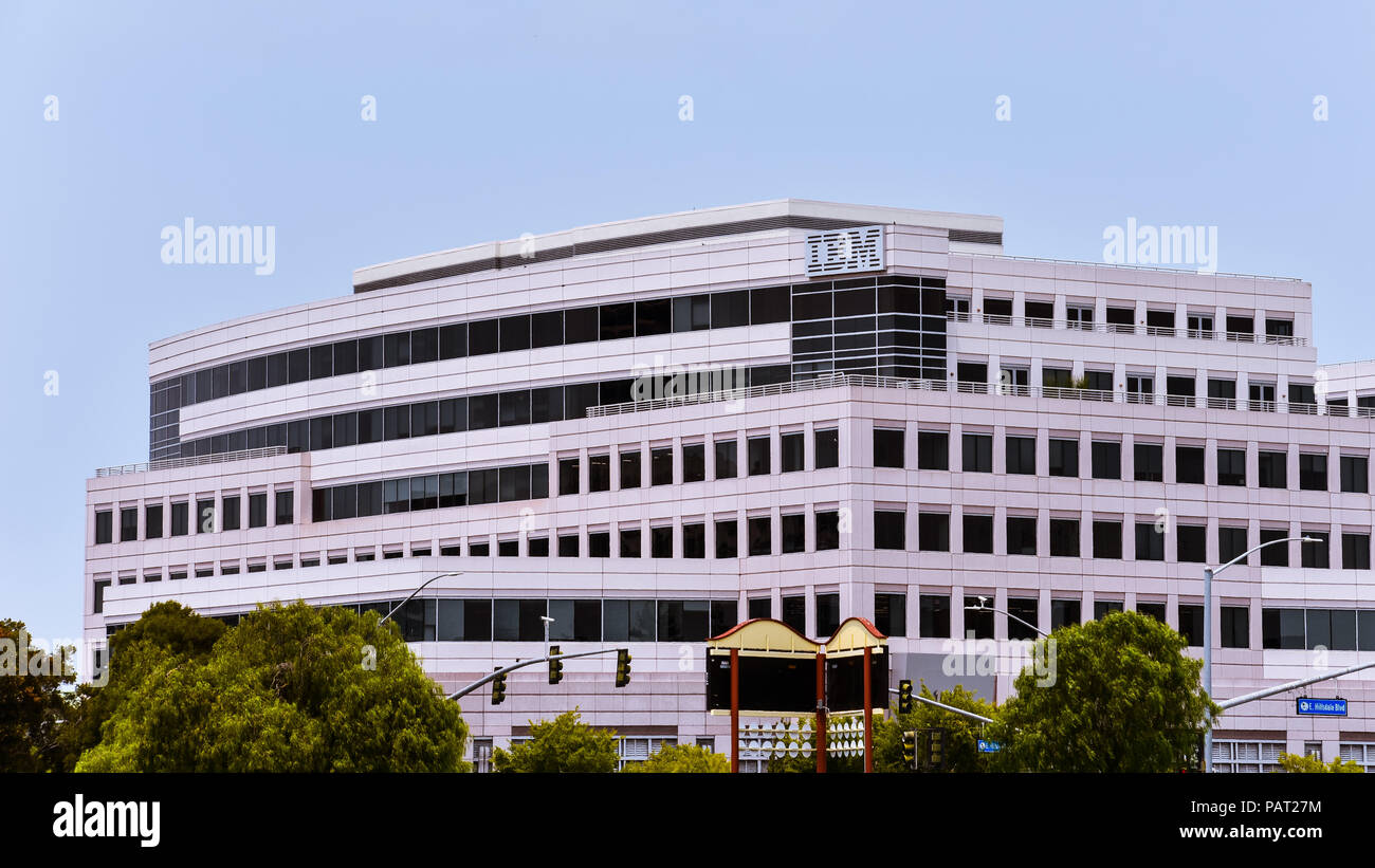 Foster City, CA/USA - Jul. 2, 2018: IBM Innovation Center in Silicon Valley, Foster City, California - Stock Image