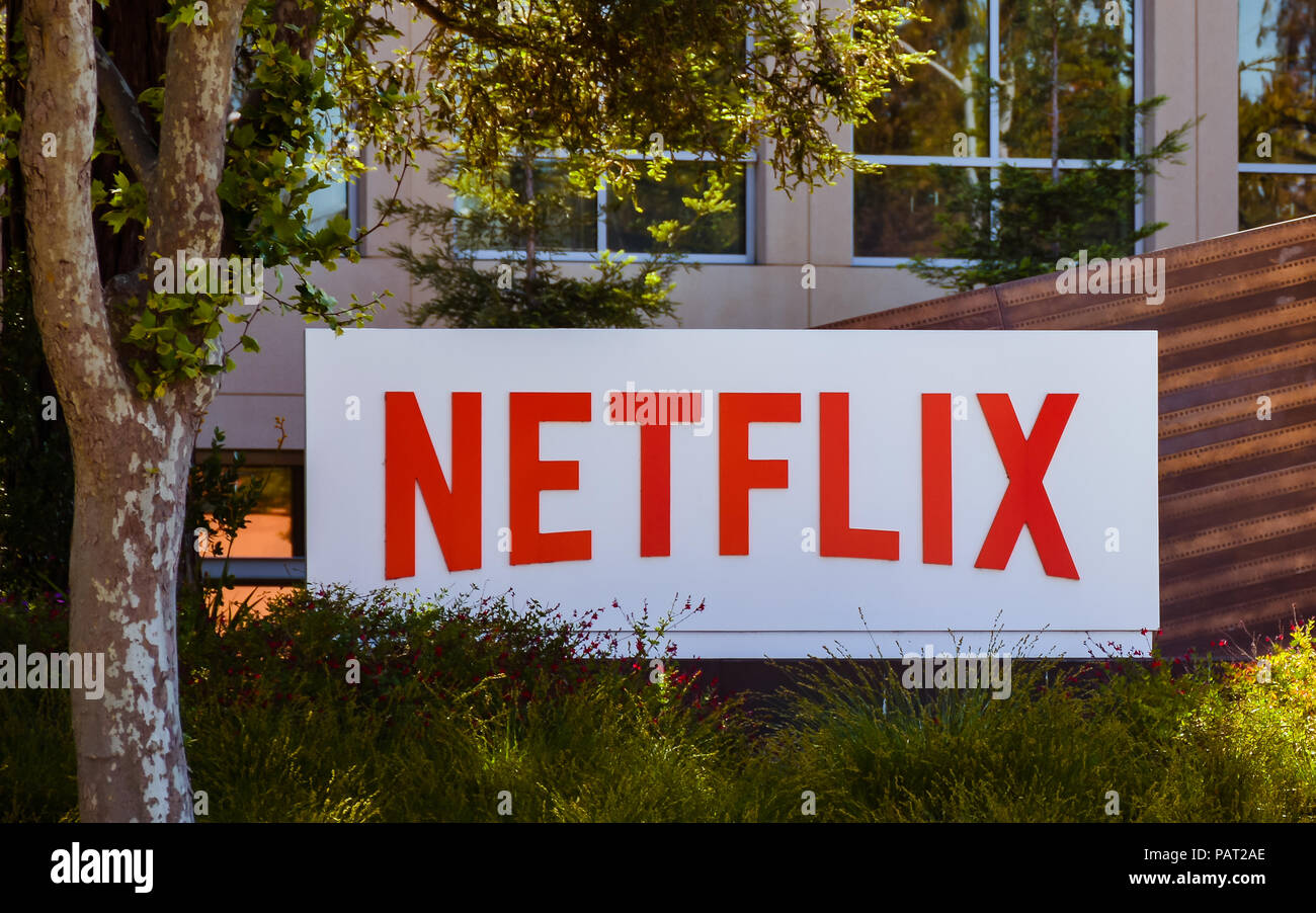 May 12, 2018: Company sign marks entrance to NETFLIX Co.'s main office in Los Gatos, CA. NETFLIX provides streaming media, video-online & DVD by mail.. - Stock Image