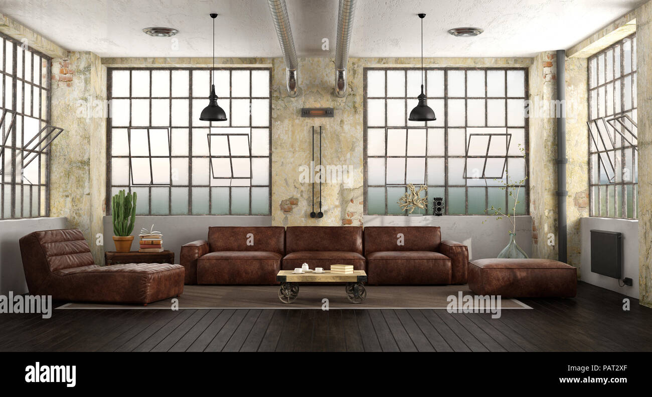 Living Room In A Loft With Leather Sofa Chaise Lounge And Large Windows 3d Rendering Stock Photo Alamy