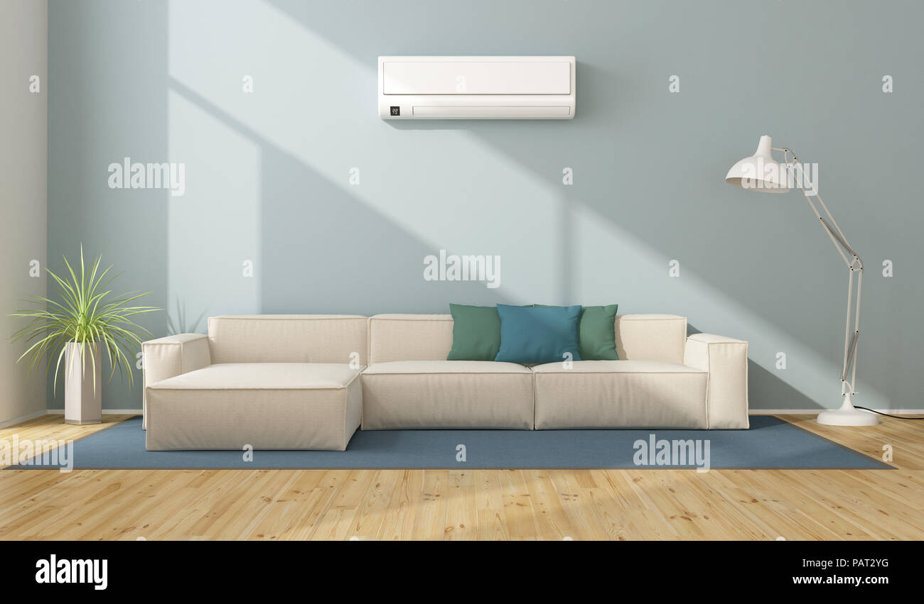 Blue Modern Living Room With White Sofa And Air Conditioner   3d Rendering