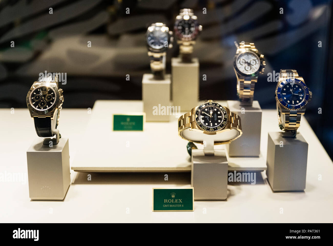 Rolex retail store display. - Stock Image