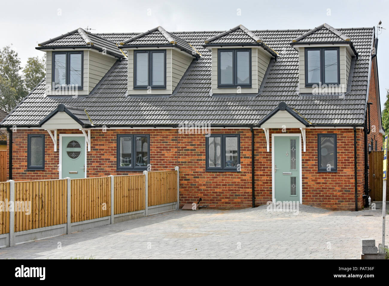 Front of new semi detached housing home just completed house