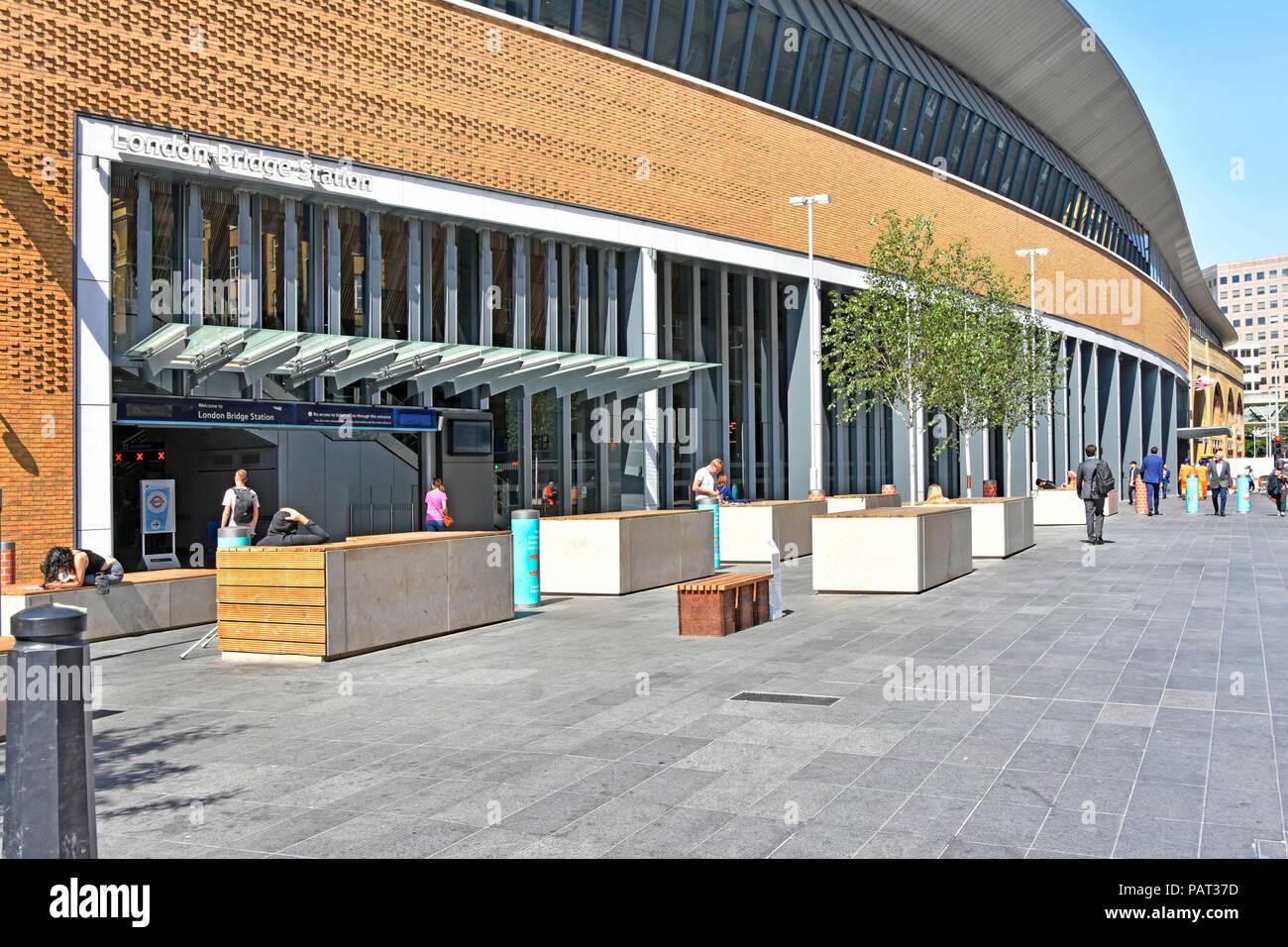 Part of Tooley Street pavement & London Bridge train station facade rebuilt in public transport infrastructure project Southwark London England UK - Stock Image