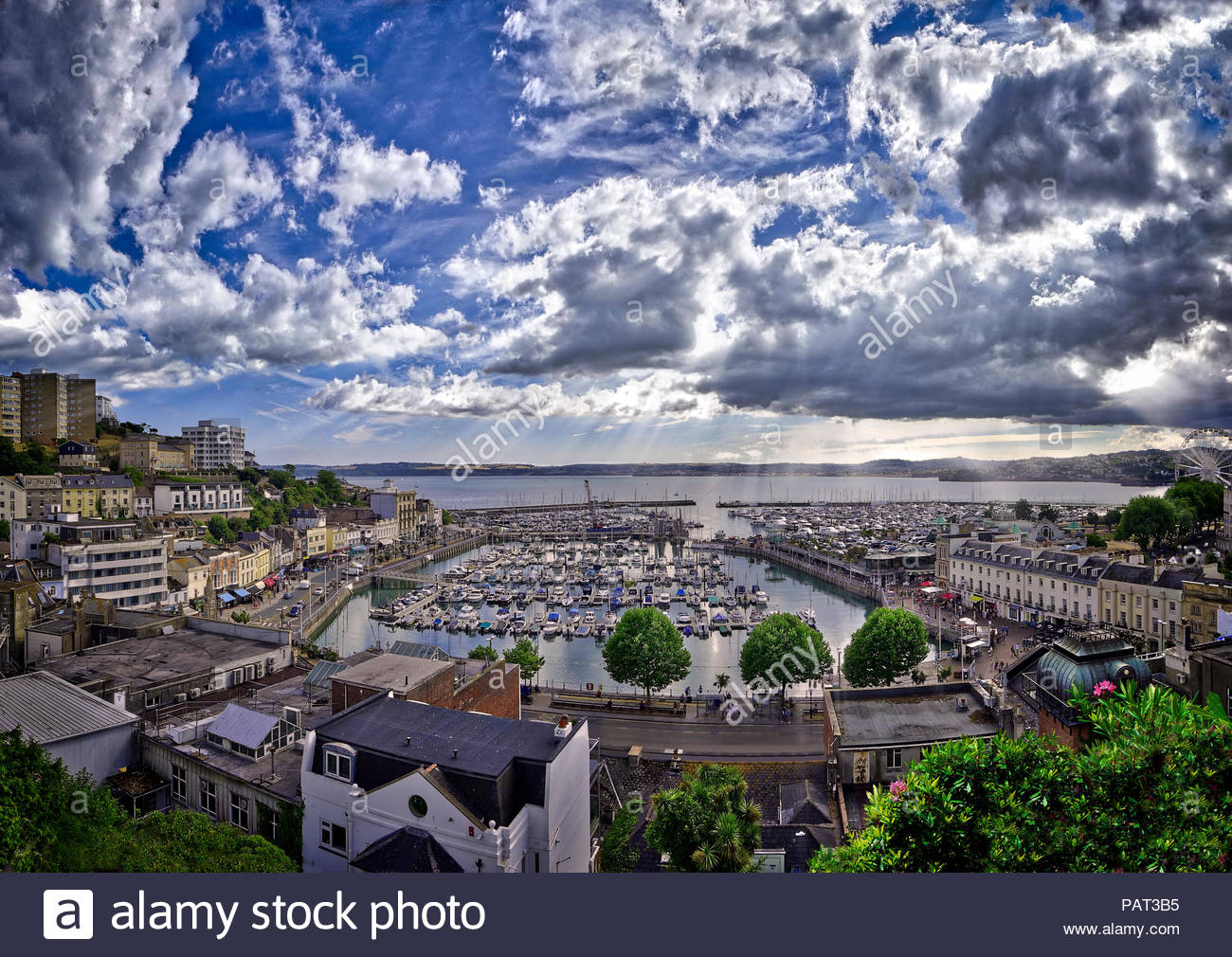 GB - DEVON: Torquay harbour and town (HDR Image) - Stock Image