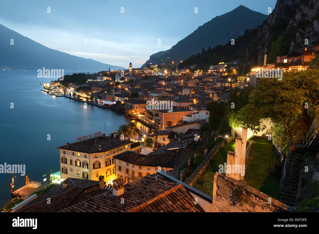 Lake Garda. View over the town and harbour in Limone sul Garda, Lake Garda, Italian Lakes, Lombardy, Italy Stock Photo