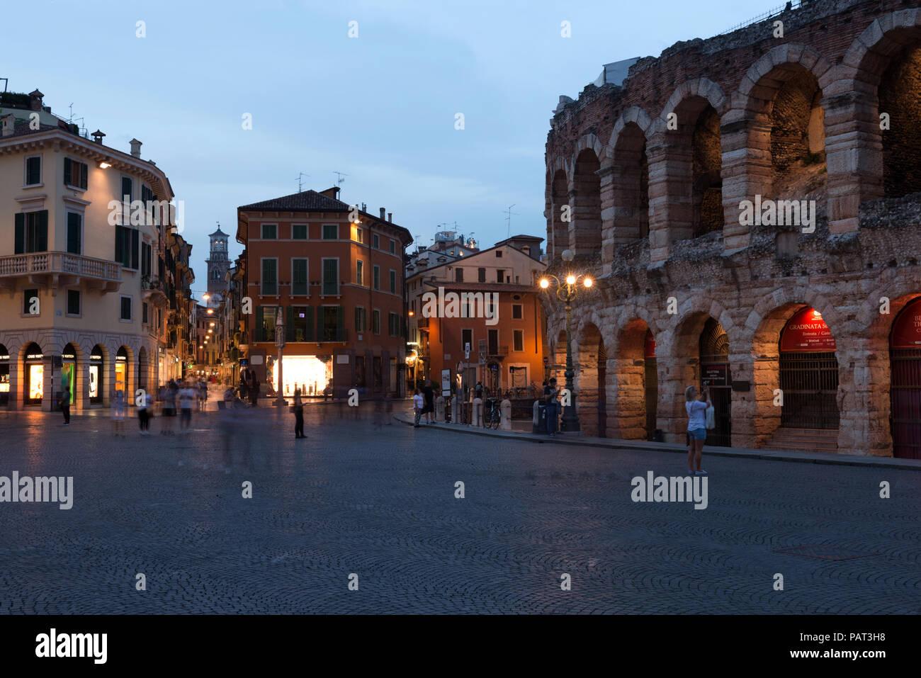 The Verona Arena,Piazza Bra in Verona Verona, Veneto, Italy Stock Photo