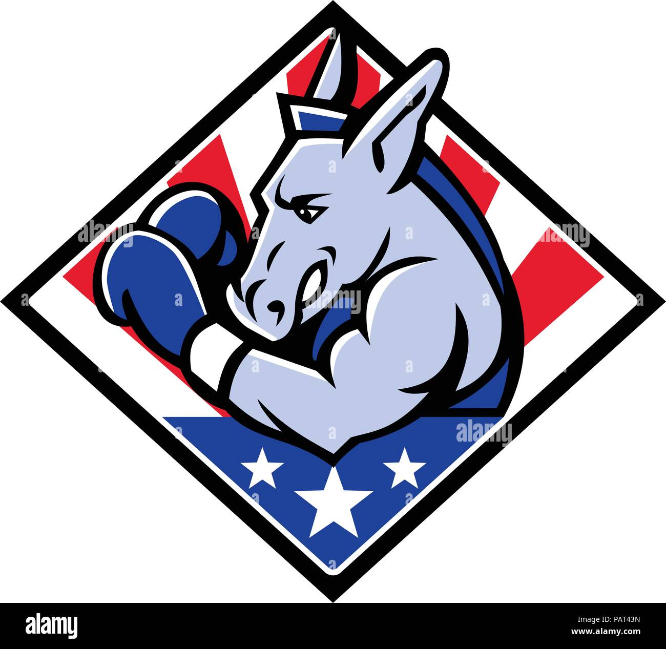 Mascot icon illustration of bust of an American democratic donkey boxing with USA stars and stripes, star spangled banner flag viewed from side set in - Stock Image