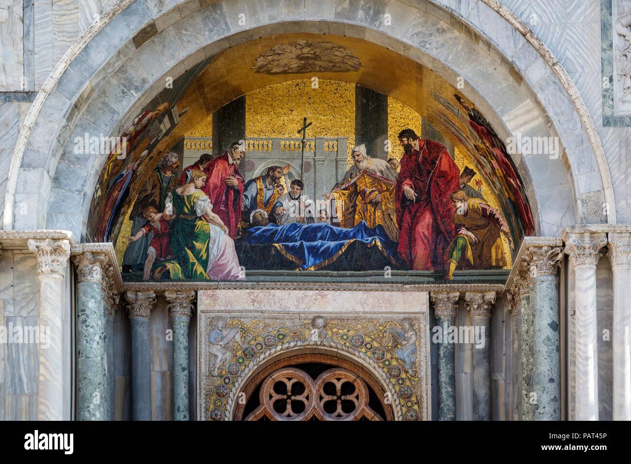 Mosaic over entry doors to Basilica di San Marco, Piazza San Marco, Venice, Veneto, Italy - Stock Image
