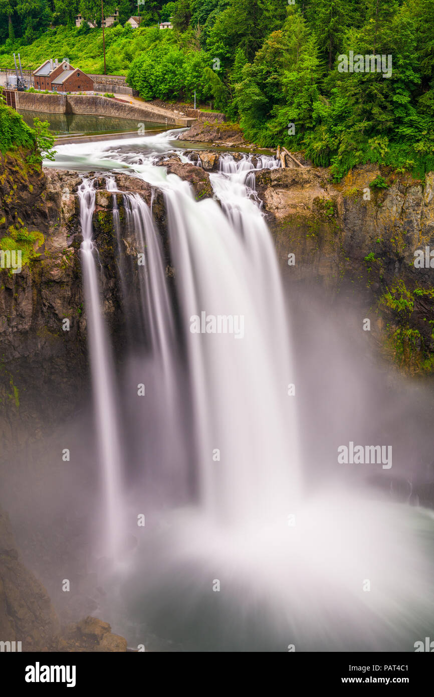Falls City, Washington, USA at Snoqualmie Falls. - Stock Image