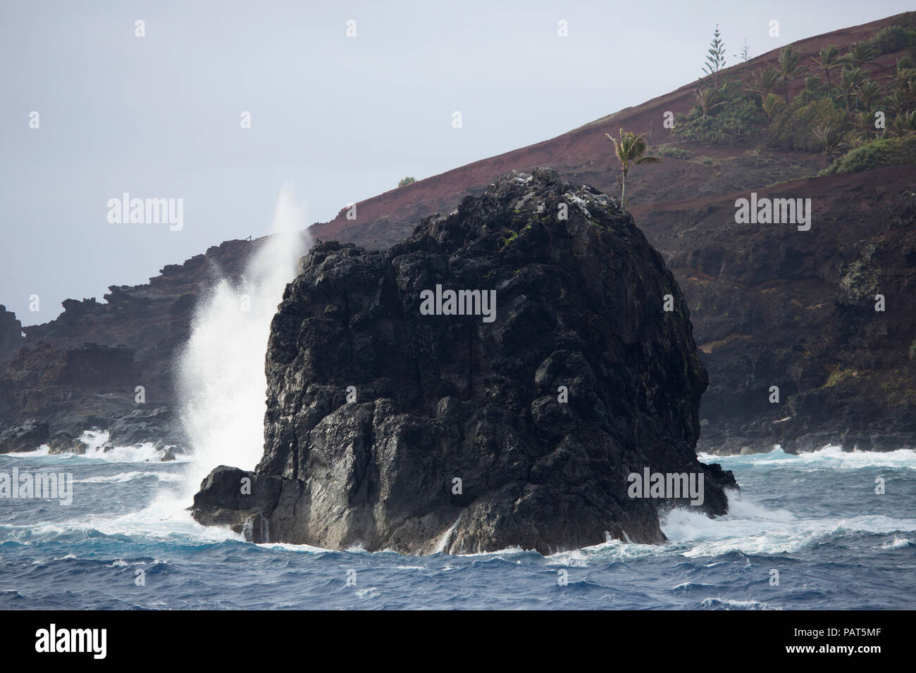 Bounty Bay, Pitcairn Islands, waves crashing into a offshore rock - Stock Image