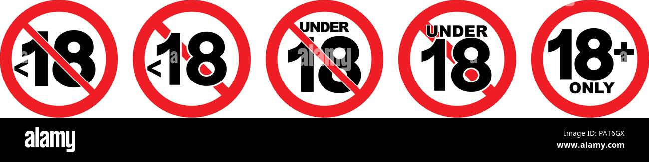 Under 18 not allowed sign. Number eighteen in red crossed circle. - Stock Image