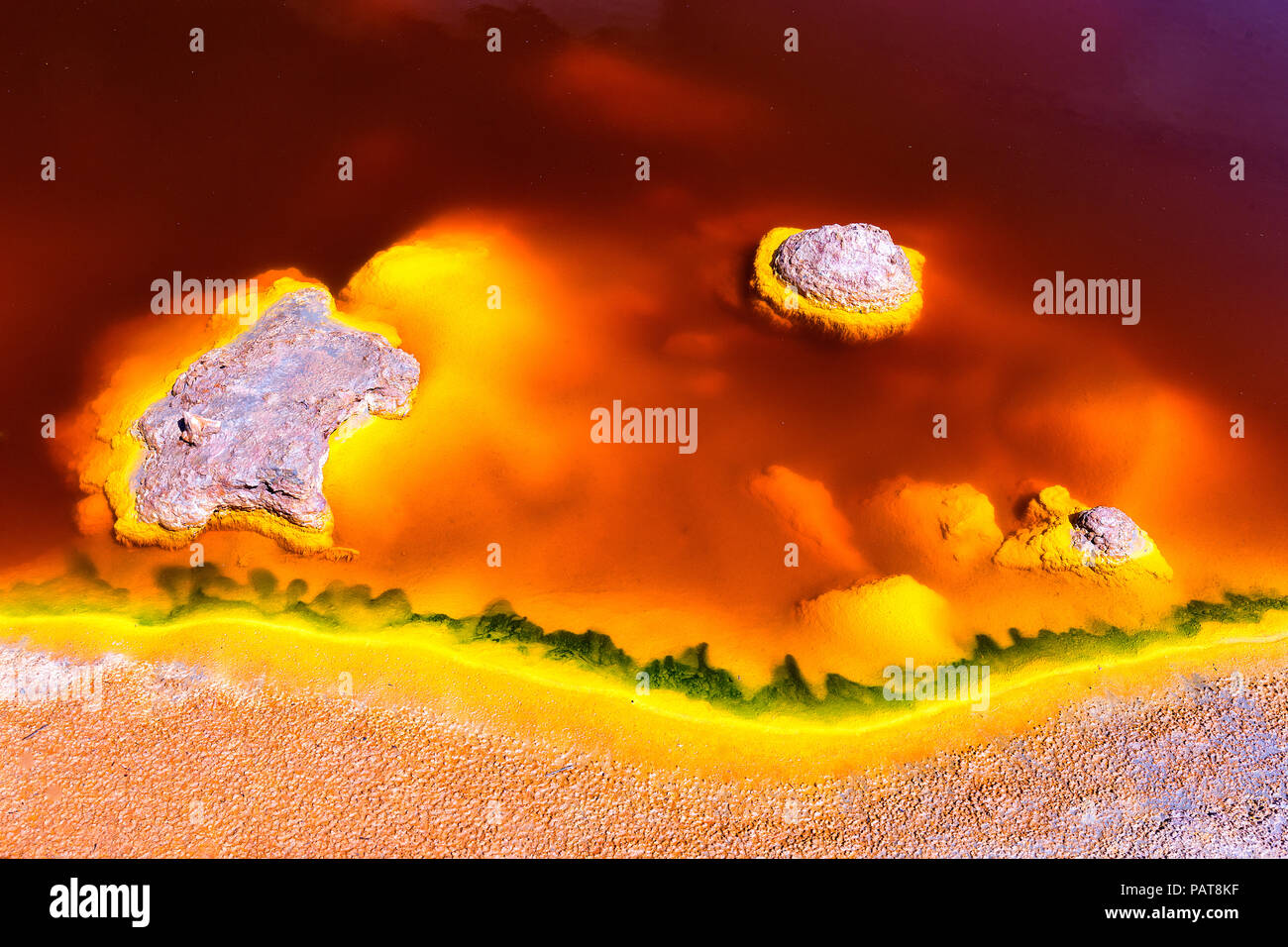 Spain, Andalusia, water of the Rio Tinto, coloured by dissolved minerals, primarily iron - Stock Image