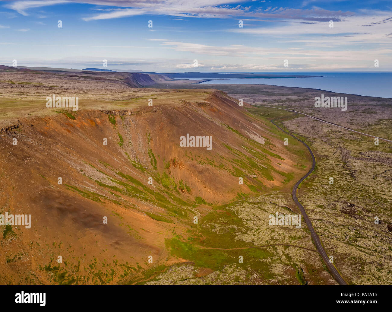 Aerial - Eldborg Crater, Reykjanes, Peninsula, Iceland. This image is shot using a drone. - Stock Image