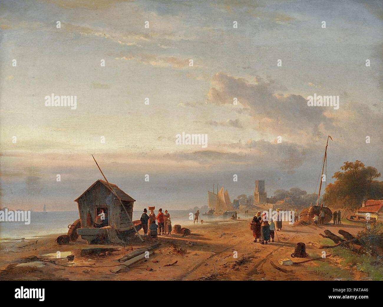 Leickert  Charles Henri Joseph - Beach Scene - Stock Image