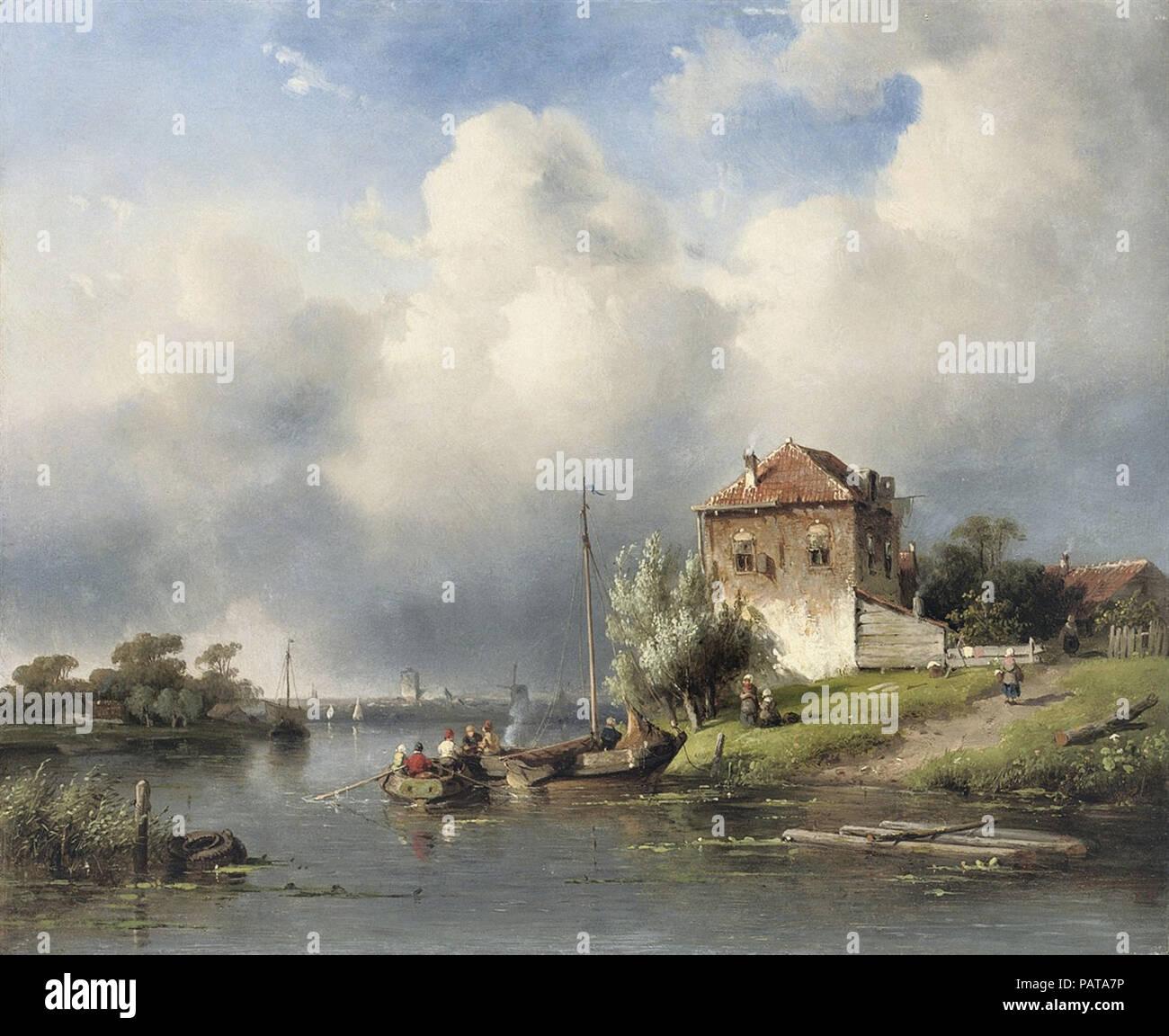 Leickert  Charles Henri Joseph - Dutch River Landscape Stock Photo