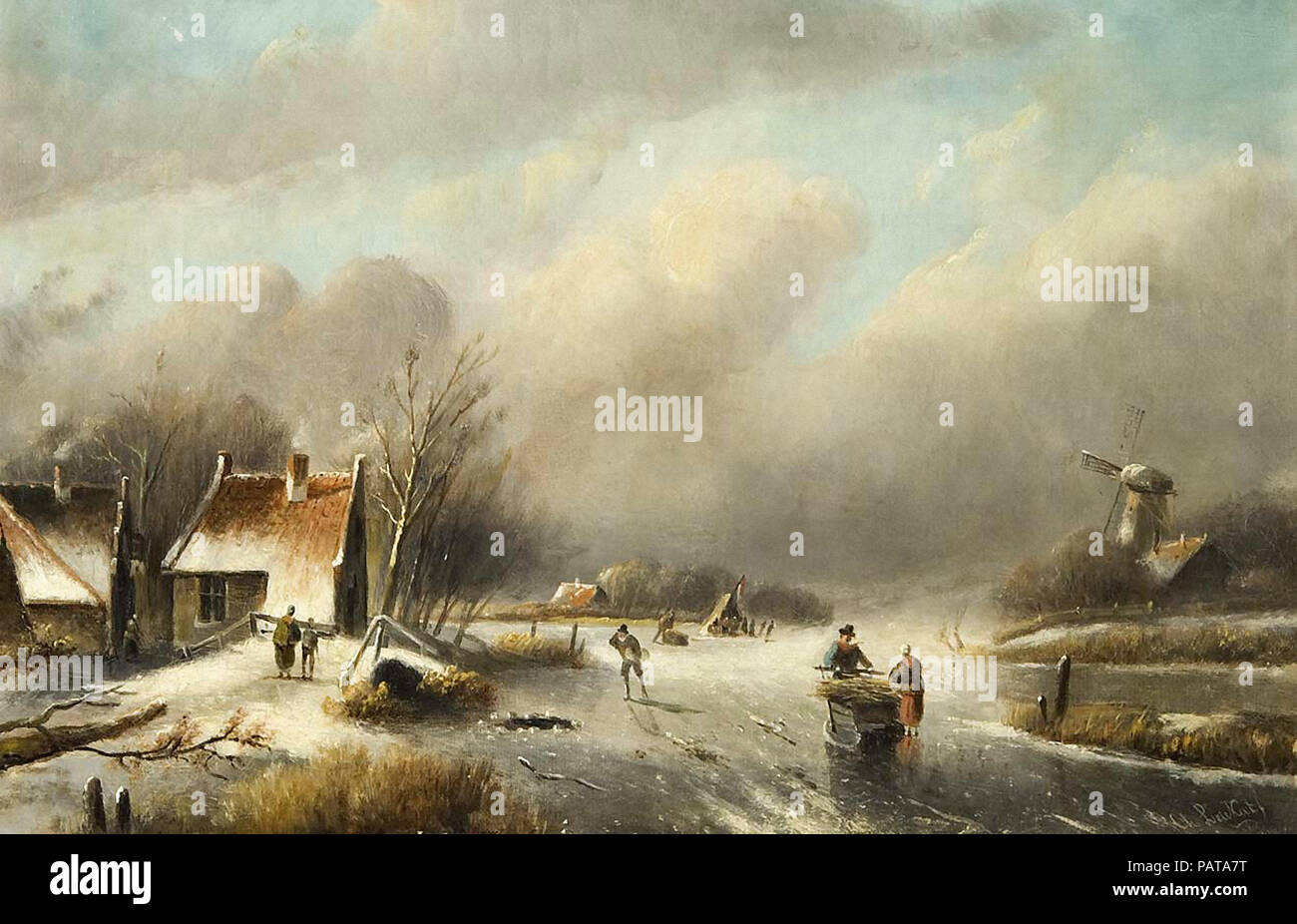 Leickert  Charles Henri Joseph - Dutch Winter Landscape - Stock Image