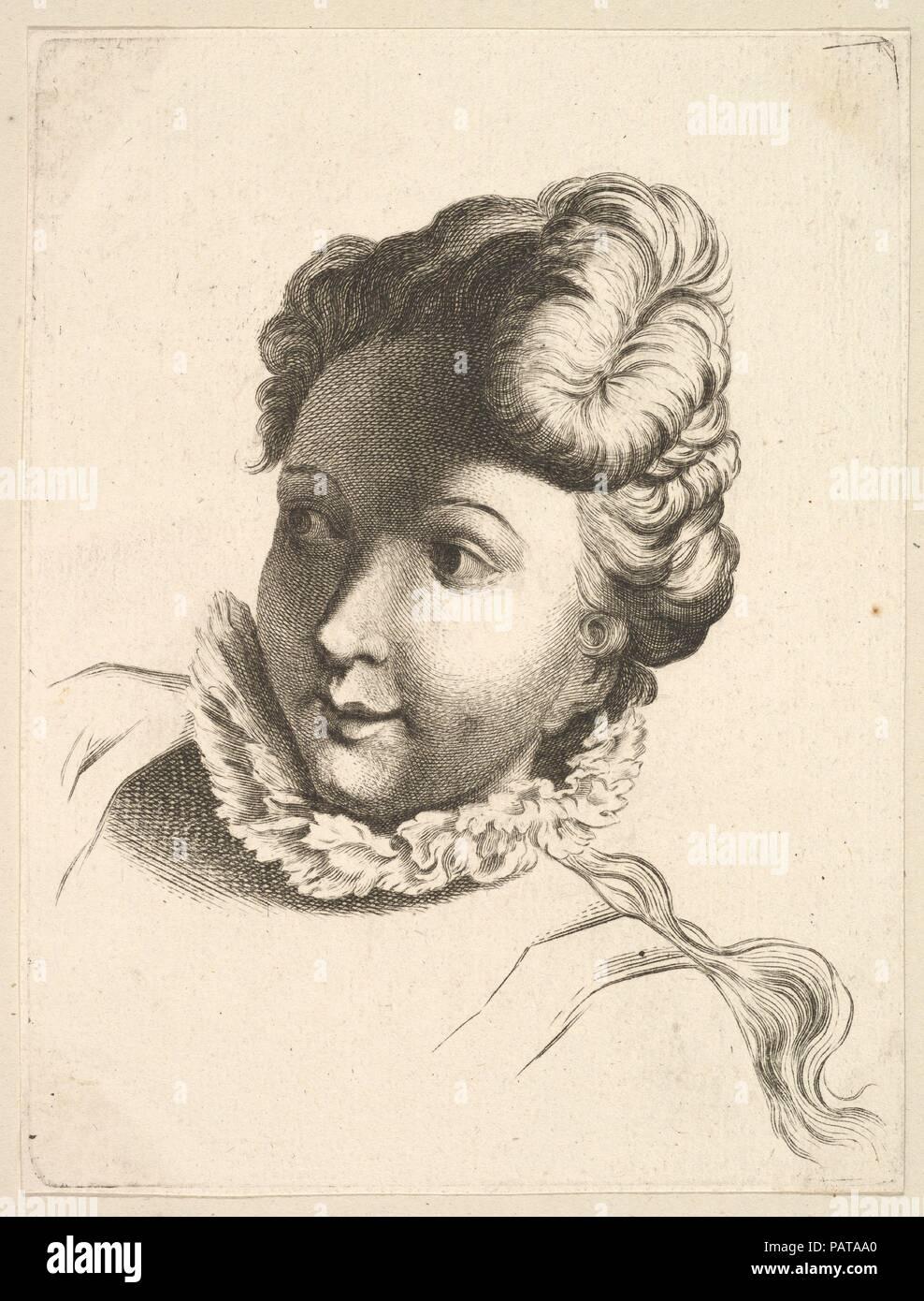 Head Of A Woman Wearing A Ruff From Livre De Tetes Gravees