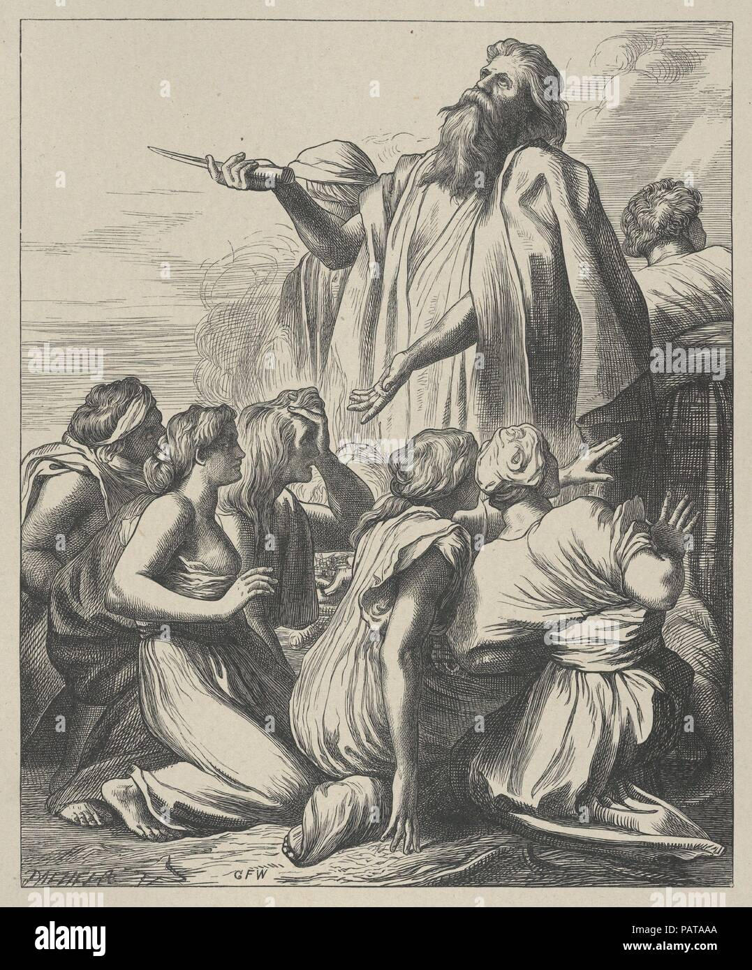 Noah's Sacrifice (Dalziels' Bible Gallery). Artist: After George Frederic Watts (British, London 1817-1904 London). Dimensions: Image: 8 3/8 × 6 7/8 in. (21.3 × 17.5 cm)  India sheet: 10 9/16 × 8 3/4 in. (26.9 × 22.3 cm)  Mount: 16 7/16 in. × 12 15/16 in. (41.7 × 32.9 cm). Engraver: Dalziel Brothers (British, active 1839-1893). Printer: Camden Press (British, London). Publisher: Scribner and Welford (New York, NY). Date: 1881. Museum: Metropolitan Museum of Art, New York, USA. Stock Photo