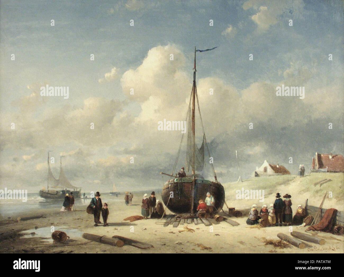 Leickert  Charles Henri Joseph - Repairing the Boat - Stock Image