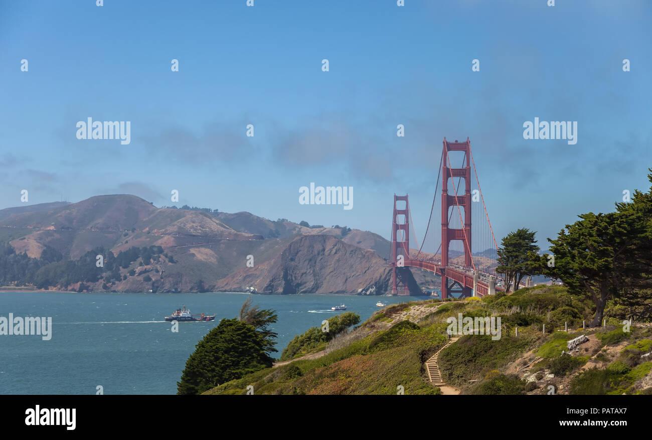 View of the Golden Gate Bridge from Presidio, San Francisco, California, United States - Stock Image
