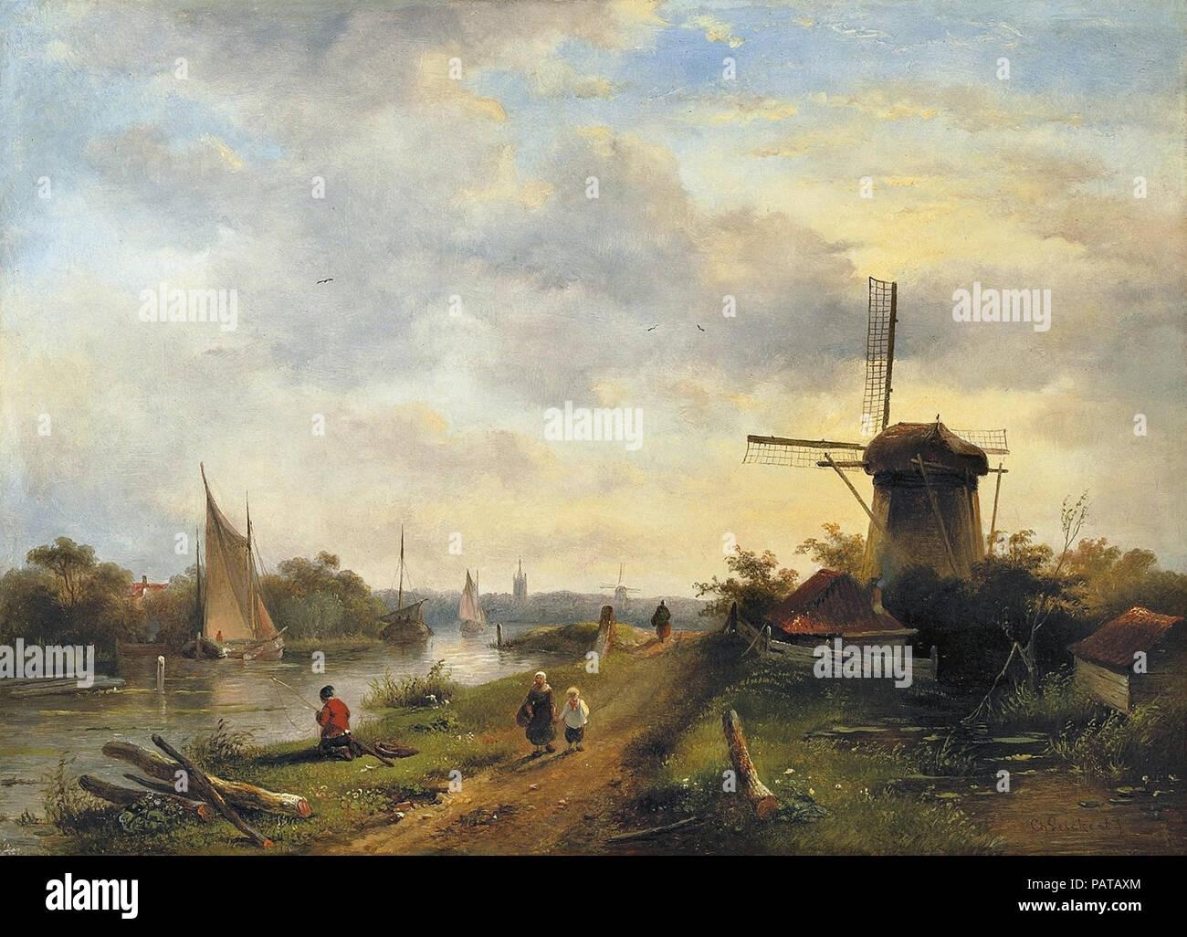 Leickert  Charles Henri Joseph - River Landscape with Windmill Stock Photo